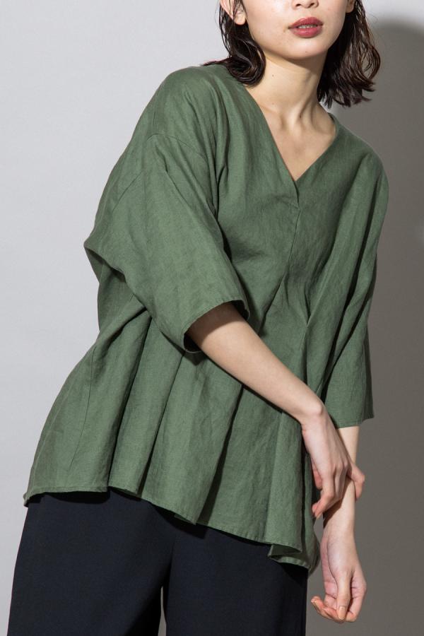 munich linen canvas tucked blouse