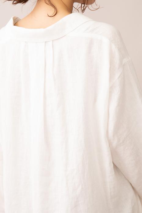 フレンチリネンキャンバス オープンカラーシャツワンピース<br>MN201N70